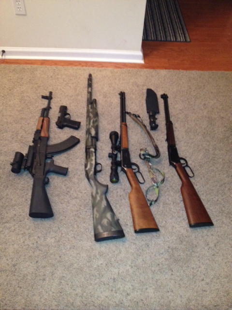 AK, turkey/duck gun, deer gun, 22. my 9 is in there as well.