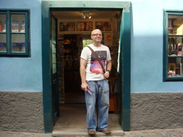 in the doorway of Franz Kafka's pad