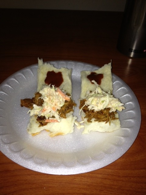 BBQ pulled pork sliders with chipotle slaw