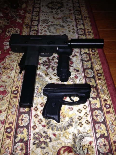 Evangaline, my MAC-10 .45acp. and Una, my Ruger LC9 conceal carry.