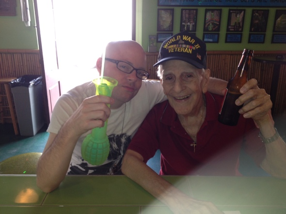 my last visit with Paw-Paw before he passed. having a drink at Tropical Isle at 2 in the afternoon. fuck yeah.
