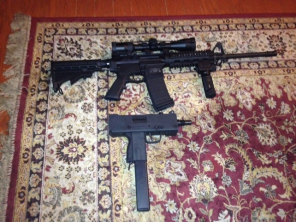 my AR-15 and MAC-10. .223 and.45acp. good times.