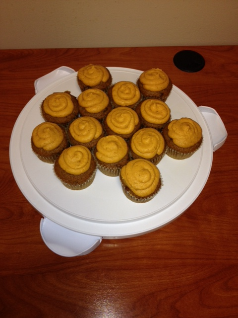 that's right. she brought me pumpkin cupcakes. word.