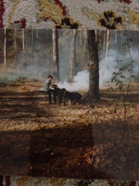 me at my Grandparents in the country. the lab was my dog Jacob. we ALWAYS went with me into the woods.