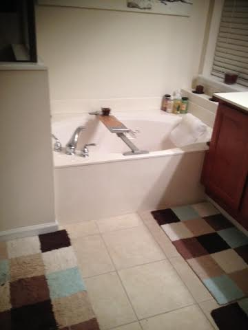 my bathroom. thats the tub she went swimming in.