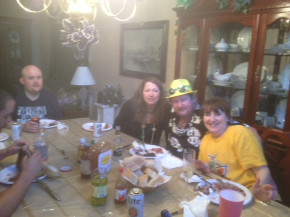 Mom, Mitch, Tempest, and Forney enjoying din-din.